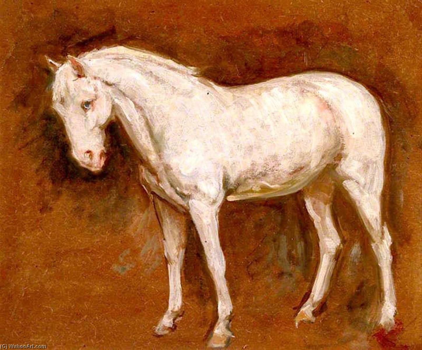 El gris caballo , oleo en panel de Percy Harland Fisher