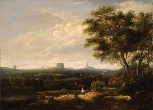 William Henry Crome - Paisaje con De norwich Castillo y Catedral de la distancia