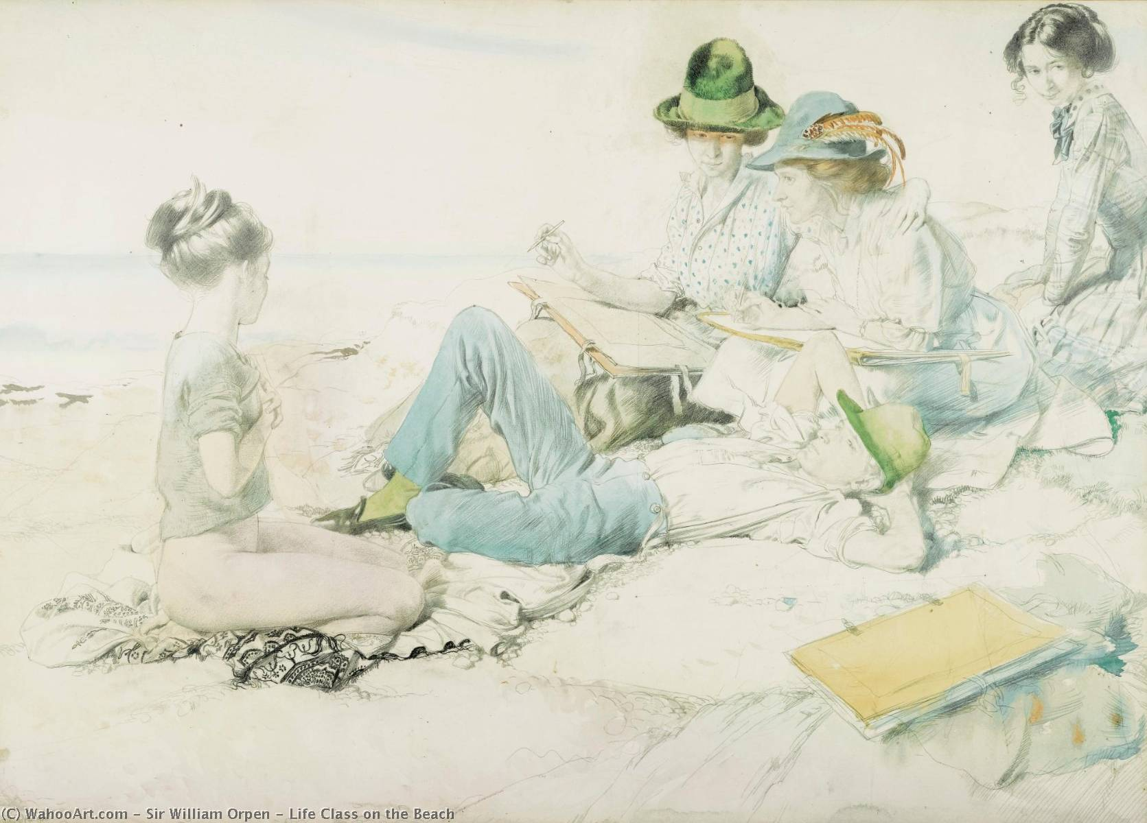 Clase Vida en  el  Playa , de Acuarela de William Newenham Montague Orpen (1878-1931, Ireland)