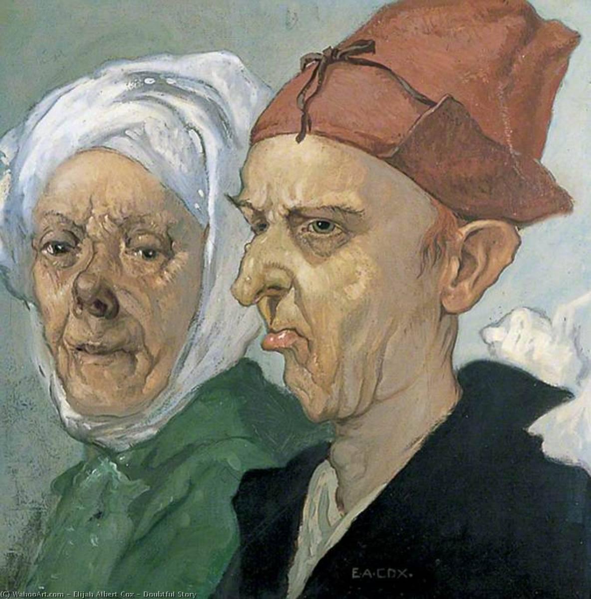 dudosa historia , óleo sobre lienzo de Elijah Albert Cox