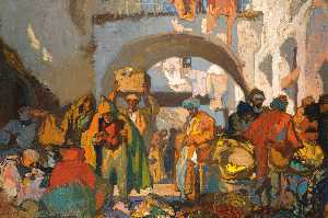 Frank William Brangwyn - una calle mercado  para  Tánger