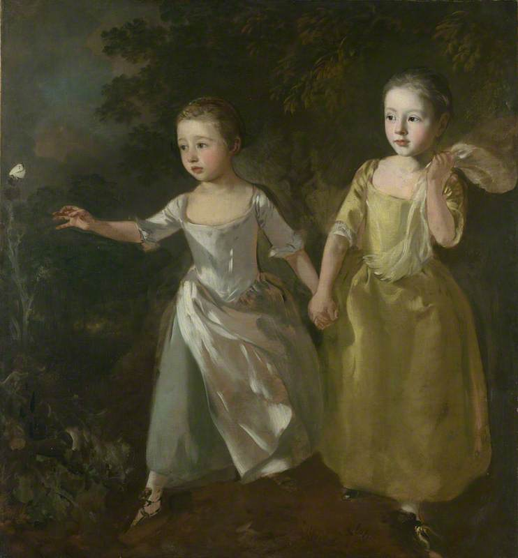 Hijas del pintor persiguiendo  Un  mariposa , 1756 de Thomas Gainsborough (1727-1788, United Kingdom) | Reproducciones De Bellas Artes Thomas Gainsborough | WahooArt.com